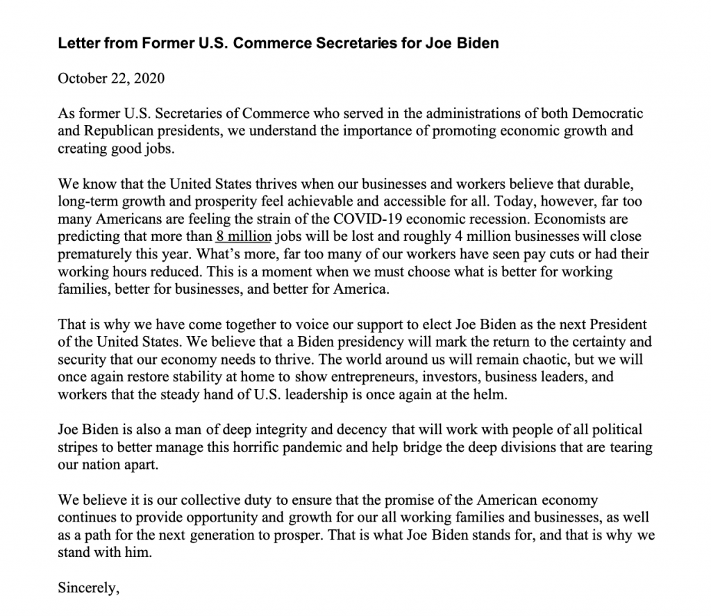 6 former commerce secretaries endorse Joe Biden